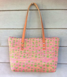 10.  Pale pink and green, Cubic polka dot bag with leather straps,
